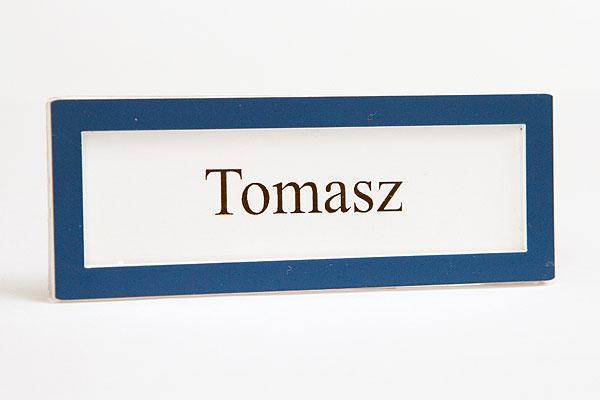 Niebieska ramka identyfikator na wymienną wizytówką