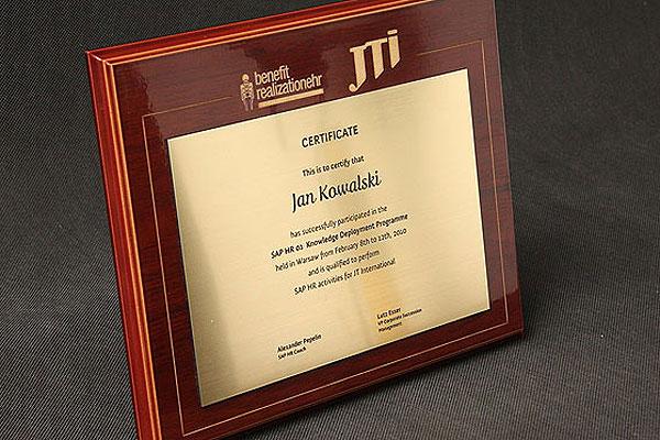 Grawerowanie laserowe certyfikatu