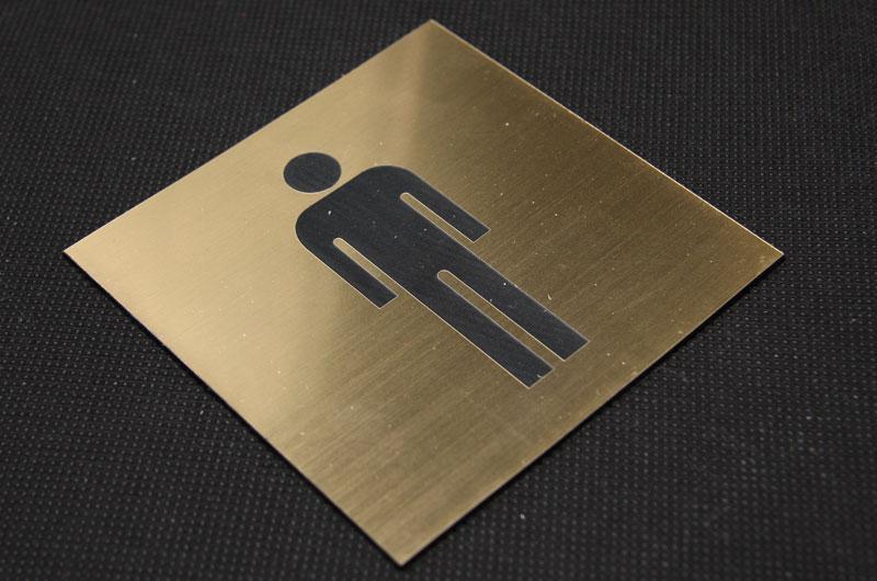 Tabliczka piktogram na drzwi na toaletę dla mężczyzn