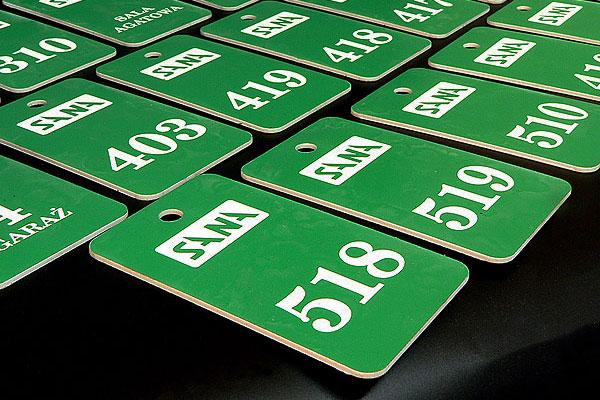 Zielono biały numerek do kluczy dla hotelu