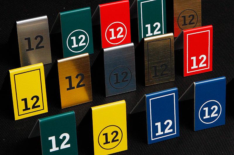 Numerki na stoły wzrornik kolorów