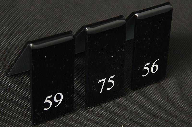 Numery na stoliki z czarnej pleksi