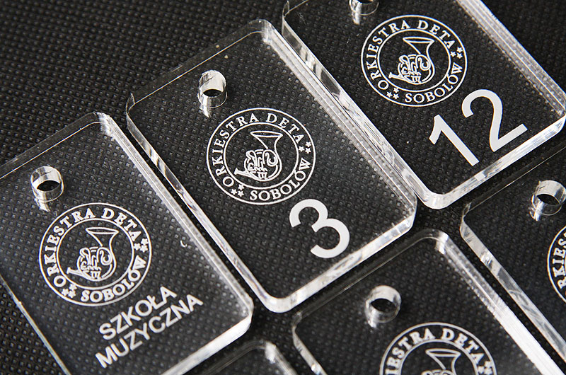 Numerki do kluczy z przeźroczystej pleksi o grubości 5 mm dla szkoły