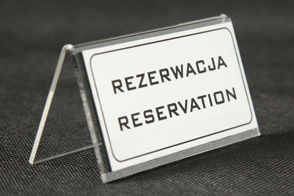 Rezerwacja ozdobna tabliczka na stół stojaczek