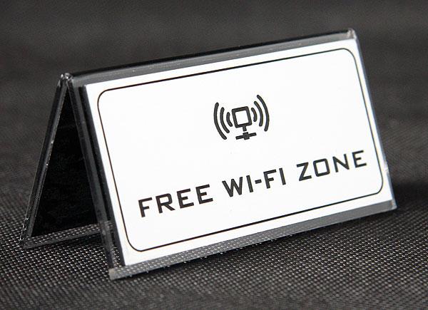 Ozdobna tabliczka informacyjna na stół free wifi