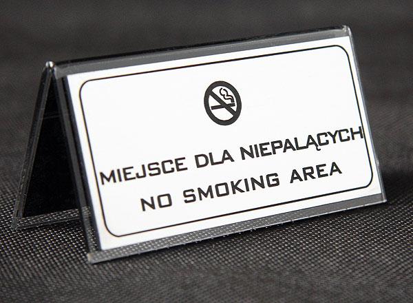 Ozdobna tabliczka informacyjna na stolik miejsce dla niepalących