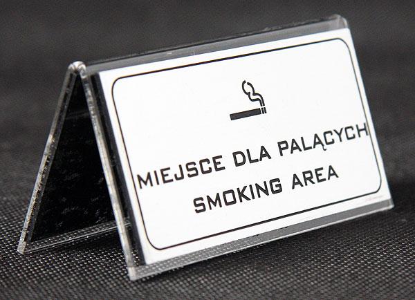 Ozdobna tabliczka informacyjna na stolik miejsce dla palących