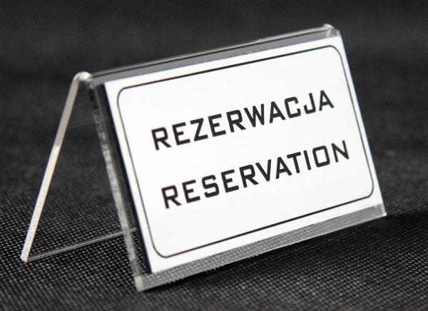 Ozdobna tabliczka informacyjna na stolik rezerwacja