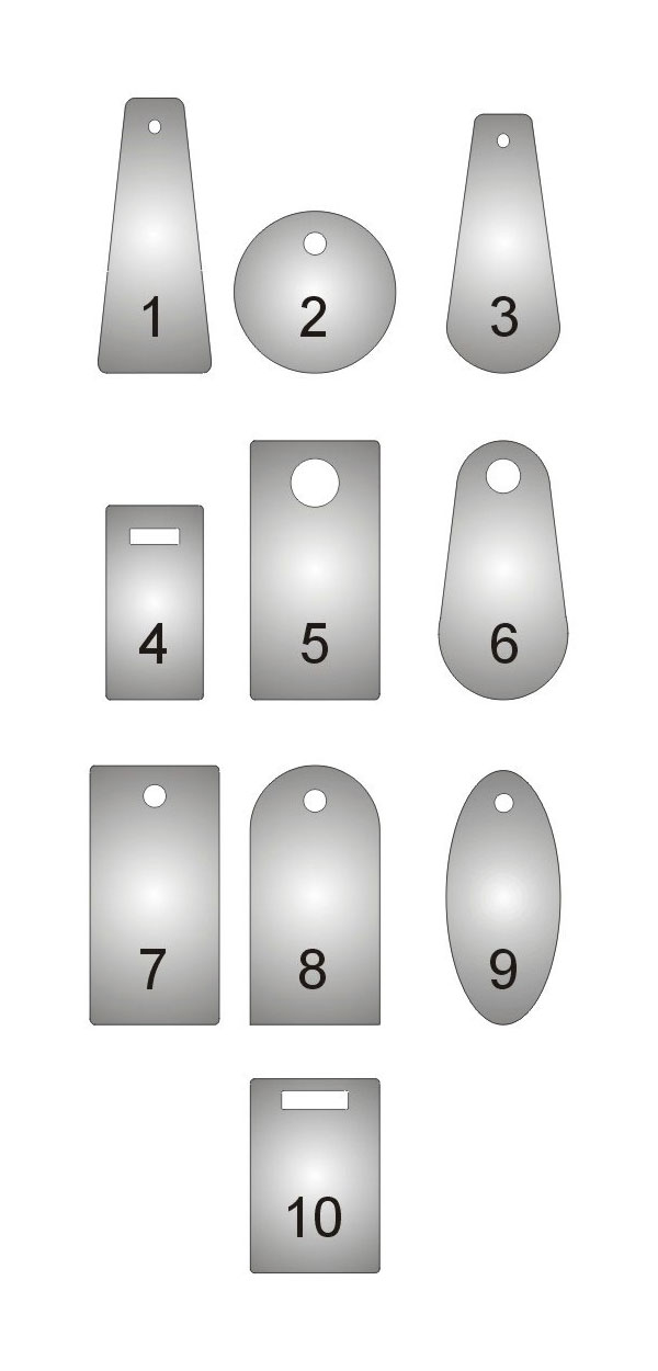 Wzornik kształtów numerków do szatni i do kluczy