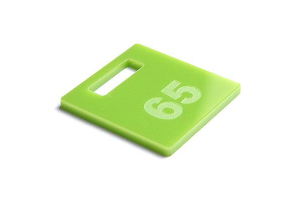 Numerek do szatni lub do kluczy na jasno zielonej pleksi