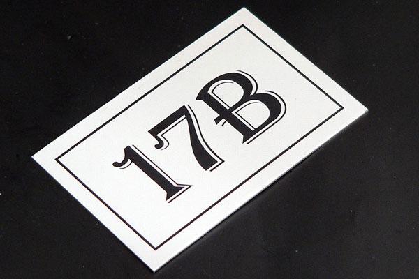 Metalowy numerek na szafkę socjalną, prostokątny, srebrno-czarny, samoprzylepny