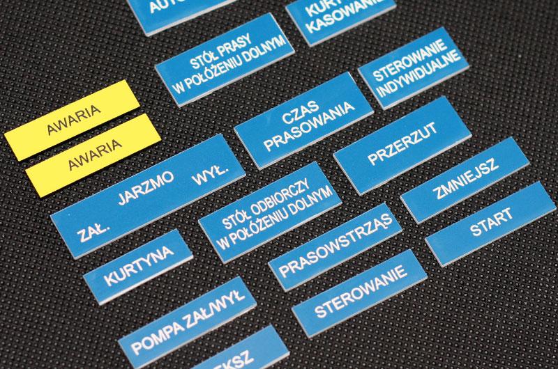 Numerki opisy przycisków funkcje grawerowane