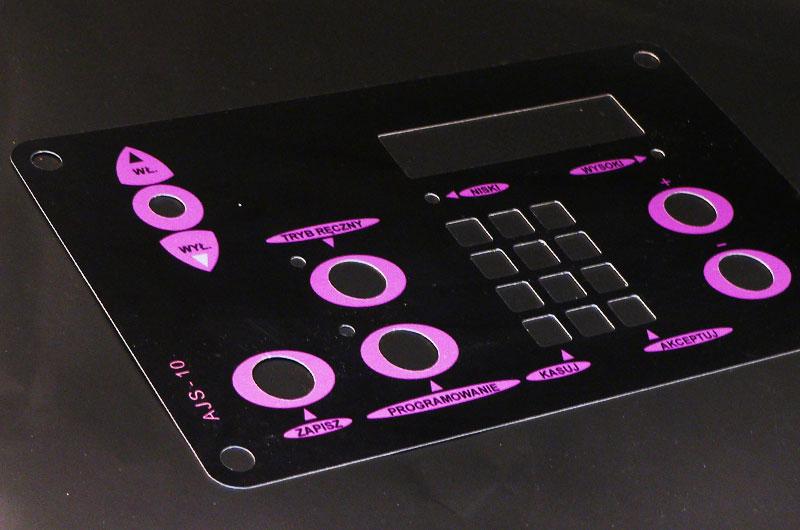 Czarno-różowe numerki opisy przycisków metalowe
