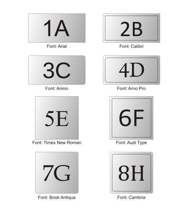 Wzornik kształtów metalowych drukowanych numerków na drzwi
