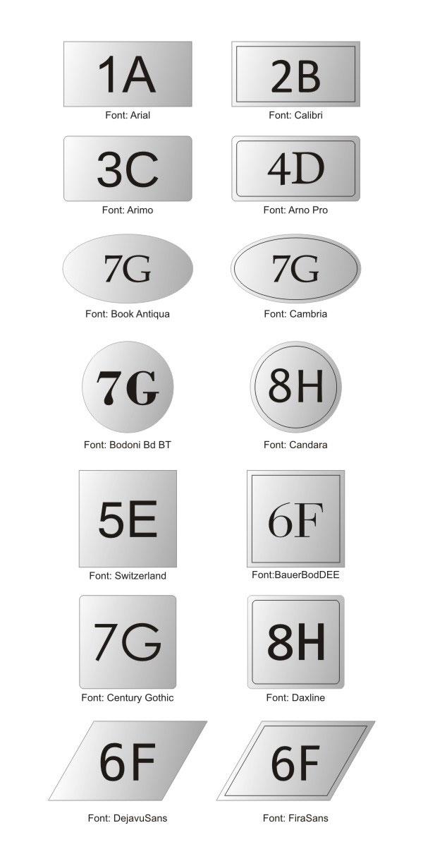 Wzornik kształtów plastikowych grawerowanych numerków na drzwi