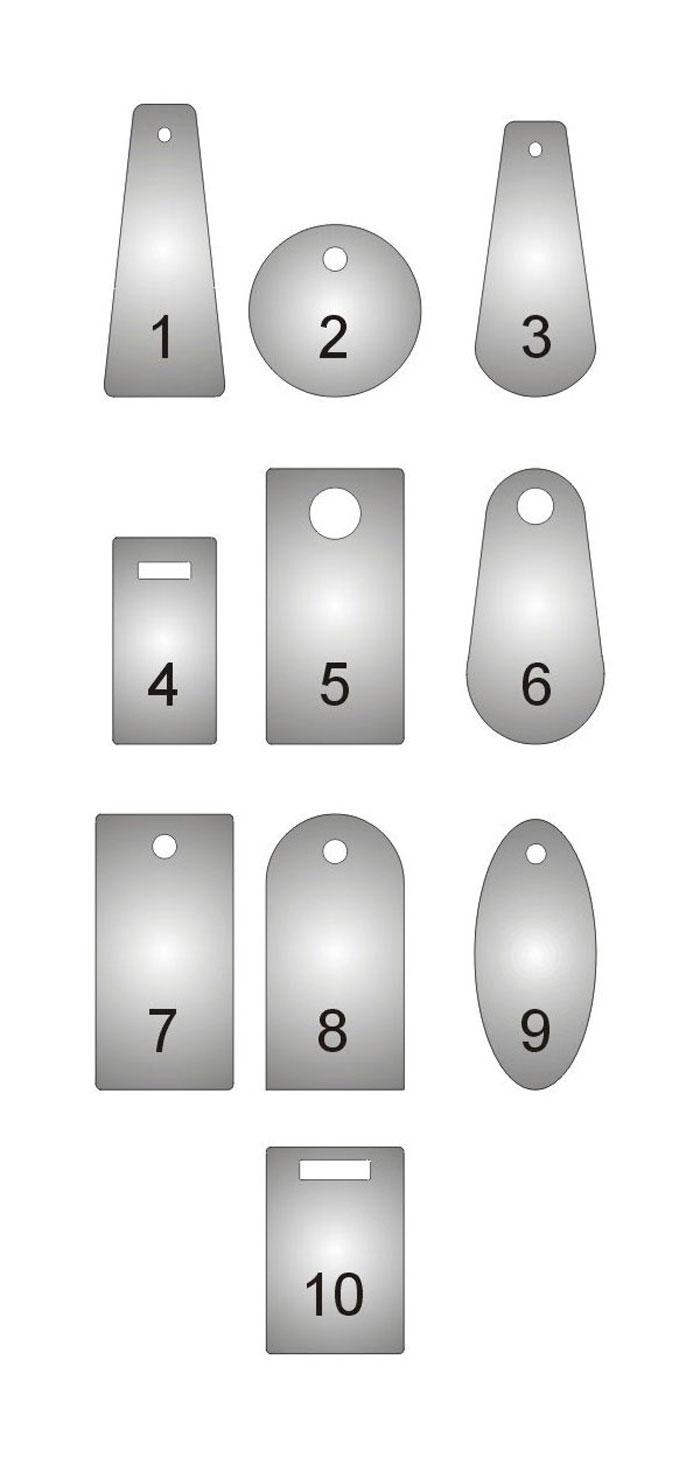Wzornik kształtów zawieszek i numerków do kluczy