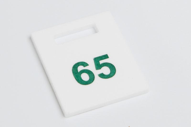 Numerek do szatni nieścieralny biało-zielony