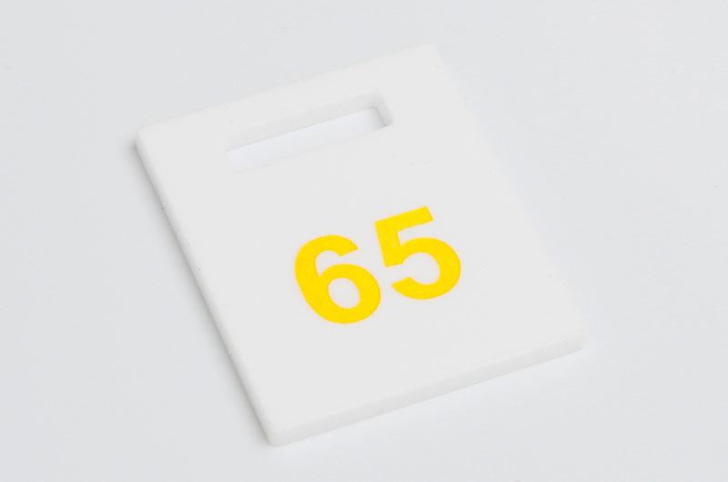Numerek do szatni nieścieralny biało-żółty