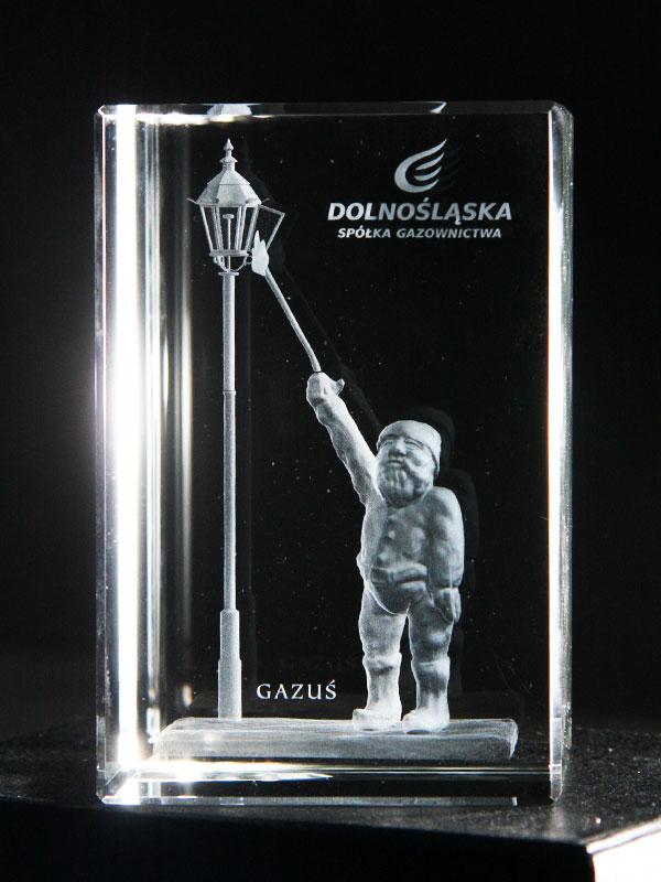 Statuetka firmowa szklana Gazuś