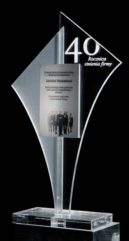 Statuetka jubileuszowa 40 lat firmy akryl