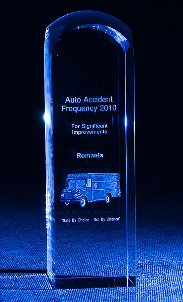 Szklana statuetka nagroda z najmniejszą ilość wypadków