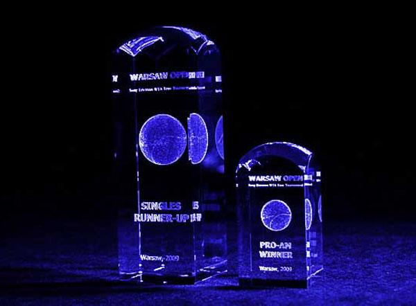 Nagrody w turnieju tenisowym kobiet Warsaw Open - Szklane statuetki