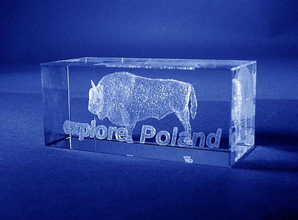 Szklana statuetka okolicznościowa na expo - odkryj Polskę