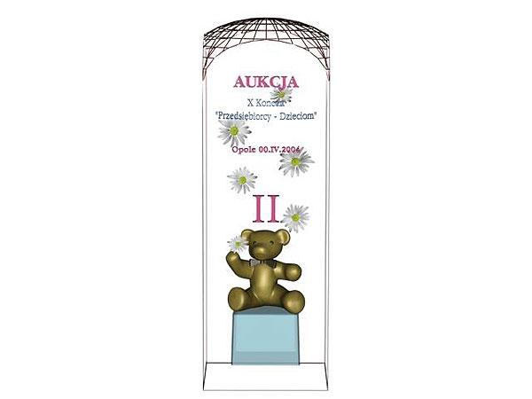Wizualizacja szklane statuetki pamiątkowej aukcji na rzecz dzieci - rzut z przodu