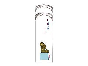 Wizualizacja szklane statuetki pamiątkowej aukcji na rzecz dzieci - rzut z boku