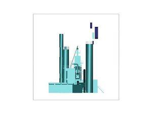 Wizualizacja 3d szklanej statuetki - Wytwórni Mas Bitumicznych - rzut z boku