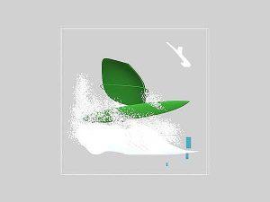 Wizaualizacja grawerowania 3d w szklanej statuetce windsurfing - widok z dołu