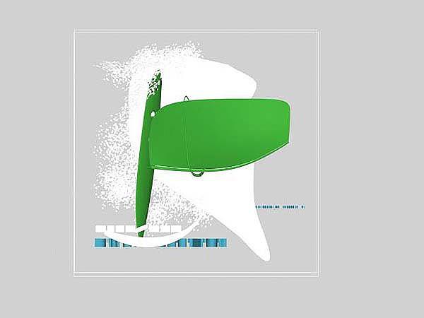 Wizaualizacja grawerowania 3d w szklanej statuetce windsurfing - widok z góry