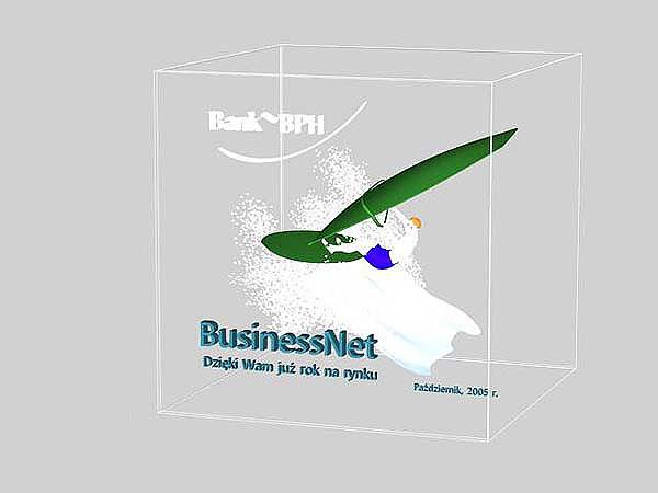 Wizaualizacja grawerowania 3d w szklanej statuetce windsurfing - widok perspektywa