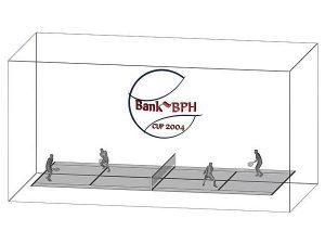Wizualizacja grawerowania 3d w szklanej statuetce nagroda w turnieju tenisowym w deblu - perspektywa