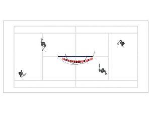 Wizualizacja grawerowania 3d w szklanej statuetce nagroda w turnieju tenisowym w deblu - widok z góry
