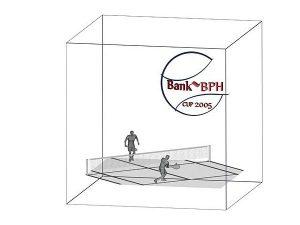 Wizualizacja grawerowania 3d w szklanej statuetce nagroda w turnieju tenisowym - sześcian perspektywa