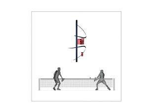 Wizualizacja grawerowania 3d w szklanej statuetce nagroda w turnieju tenisowym - sześcian widok z boku