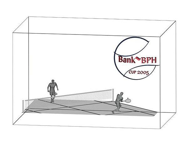 Wizualizacja grawerowania 3d w szklanej statuetce nagroda w turnieju tenisowym - prostopadłościan widok perspektywa
