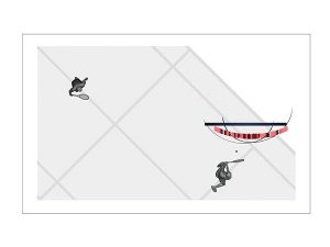 Wizualizacja grawerowania 3d w szklanej statuetce nagroda w turnieju tenisowym - prostopadłościan widok z góry