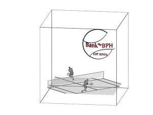 Tenisista grawerowanie 3d w szklanej statuetce - wizualizacja widok z przodu