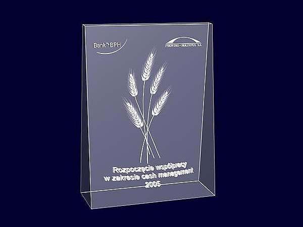 Wizualizacja szklanej statuetki pamiątkowej z okazji rozpoczęcia współpracy - perspektywa