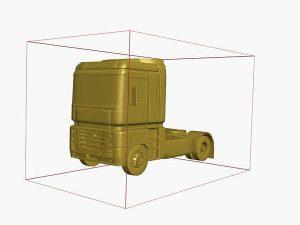 Wizualizacja ciągnika siodłowego grawerowanie 3d w szklanej statuetce - perspektywa