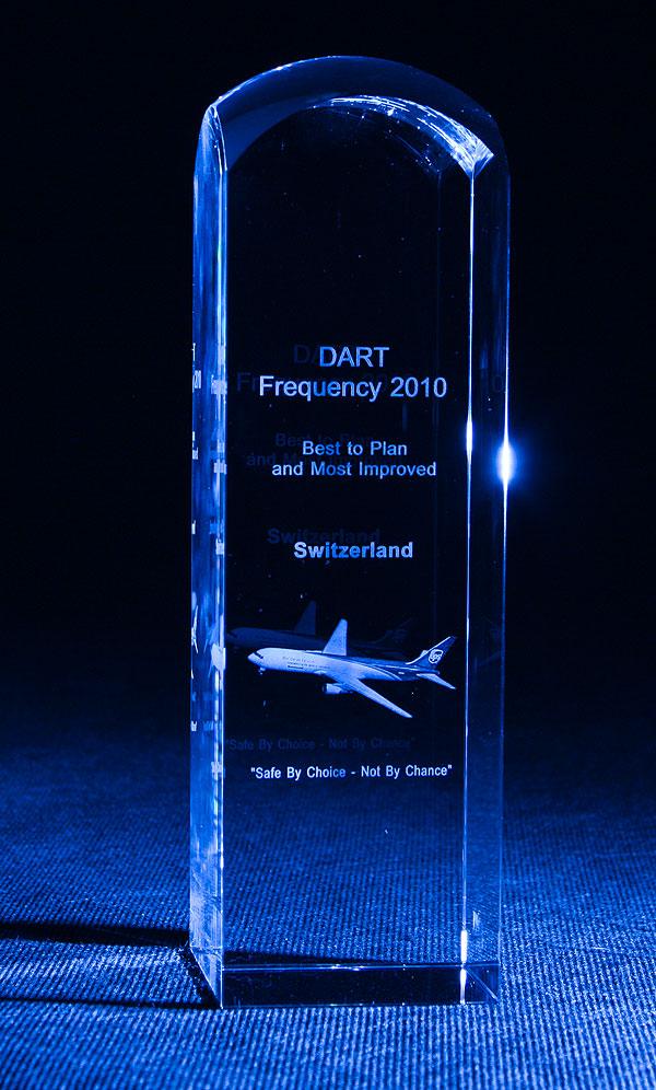 Samolot grawerowanie 3d w szklanej statuetce - nagroda pamiątka firmowa
