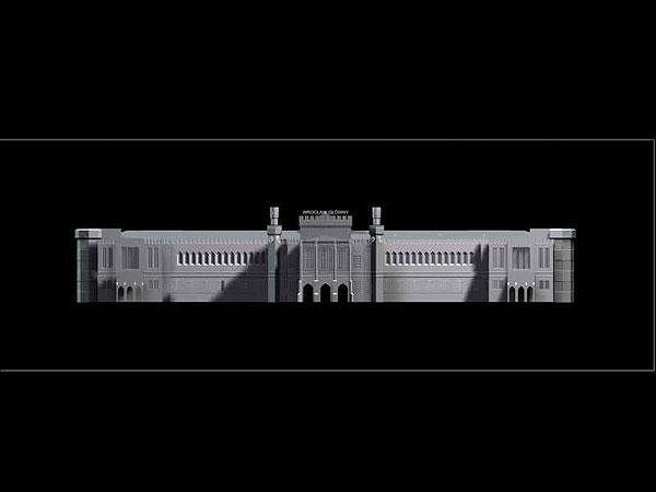 Wizualizacja grawerowania budynku w szklanej statuetce Dworzec Główny PKP we Wrocławiu - widok na wprost -czarne tło