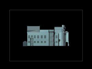 Wizualizacja grawerowania budynku w szklanej statuetce Dworzec Główny PKP we Wrocławiu - widok z boku -czarne tło