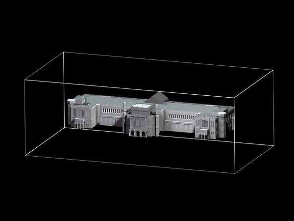 Wizualizacja grawerowania budynku w szklanej statuetce Dworzec Główny PKP we Wrocławiu - perspektywa 1 -czarne tło