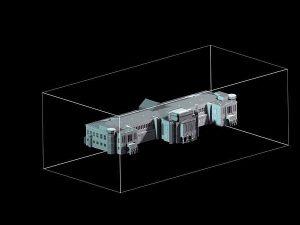 Wizualizacja grawerowania budynku w szklanej statuetce Dworzec Główny PKP we Wrocławiu - perspektywa 2 -czarne tło