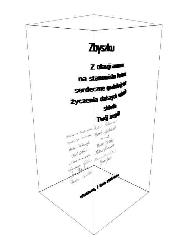 Wizualizacja grawerowania szklanej statuetki gratulacyjnej z okazji awansu - perspektywa