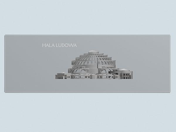 Wizualizacja grawerowania statuetki Hala Ludowa pamiątka z wrocławia - widok z przodu