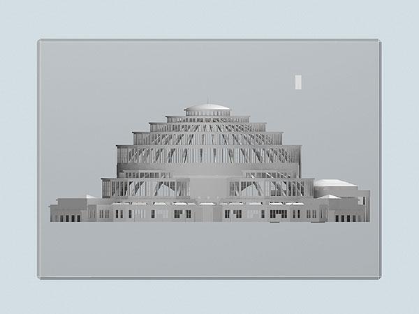 Wizualizacja grawerowania statuetki Hala Ludowa pamiątka z wrocławia - widok z boku